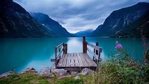 104673, 4k, Wallpaper, Blue, Norway, Water, 5k, Bridge, Mountain, Sky, Lake, Clouds