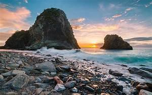 Senganmon, Beach, Japan, Sunset, Ocean, Coast, Volcanic, Rock, Waves, Wallpaper, Hd, 1920x1200