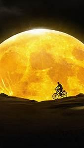 Moon, 4k, Wallpaper, Night, Silhouette, Yellow, Dream, Fantasy, 77