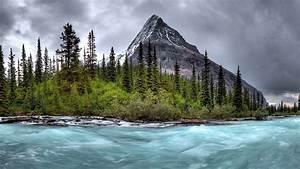 Mountain, River, Stream, Gloomy