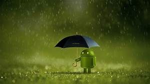 Android, Logo, 4k, Wallpaper, Android, Robot, Umbrella, Rain, Green, Technology, 1571